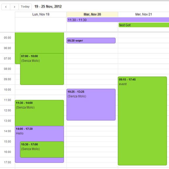 visione calendario mensile