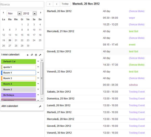 lista appuntamenti calendario utente aziendale