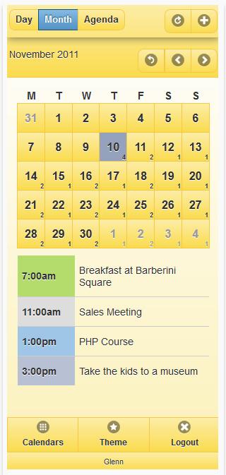 versione mobile del calendario appuntamenti online