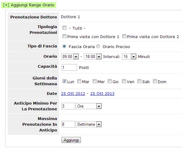 Aggiunta di un range orario personalizzato per un dottore, un servizio o un box