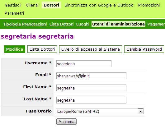 Definisci gli utenti che possono avere accesso alla gestione degli appuntamenti definizione dei campi utente