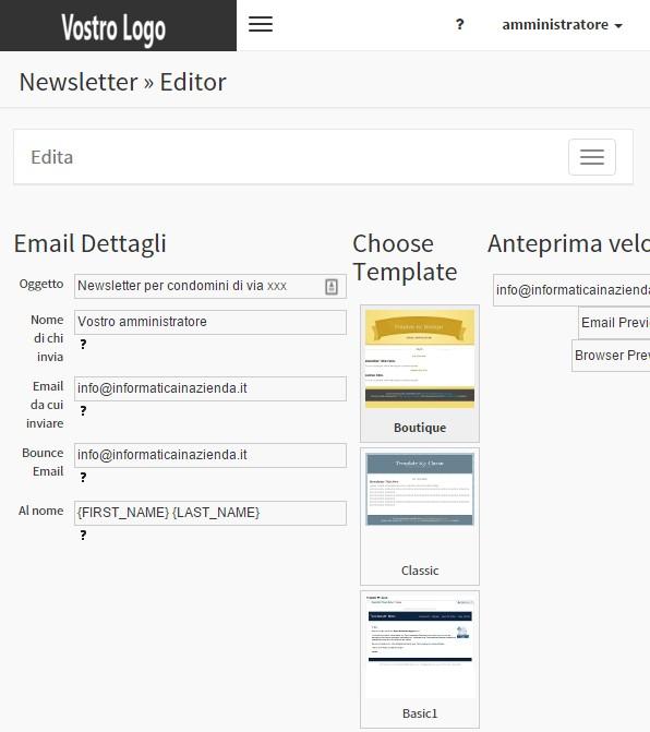 Newsletter Invio clienti