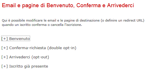 pagine di modifica testi newsletter
