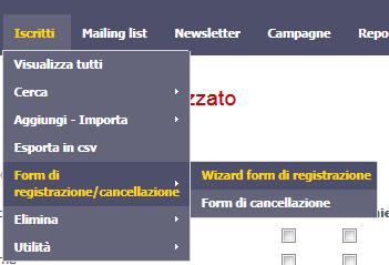 menu modulo registrazione