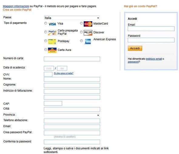 pagamento foto con paypal e carta di credito